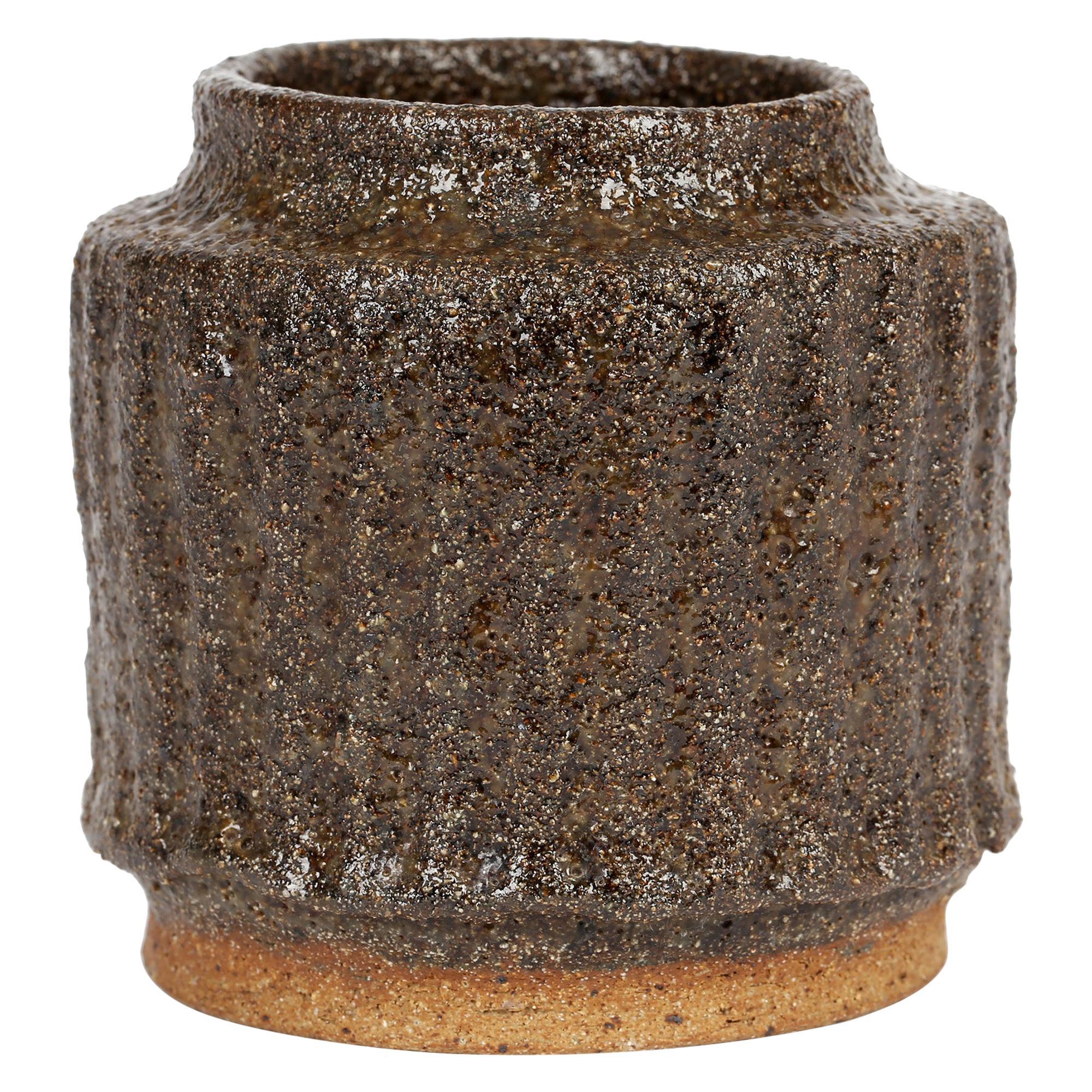 Brown Texture Glazed Studio Pottery Stoneware Signed Vase
