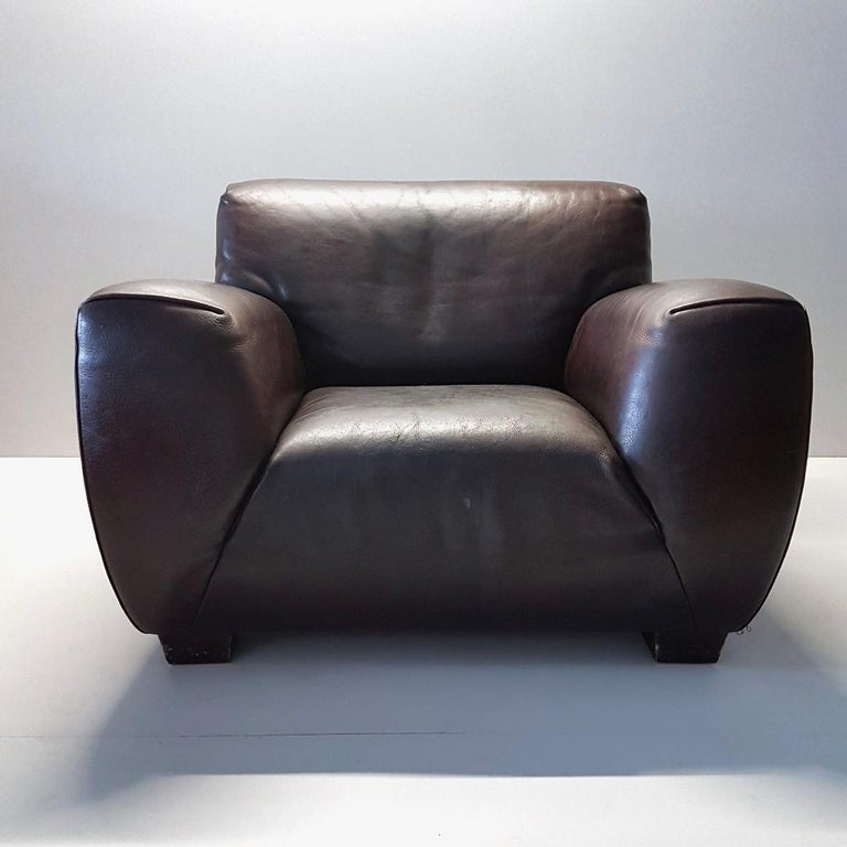 Brown Thick High Quality Leather Lounge Chair By Molinari Marked Model Fat Boy