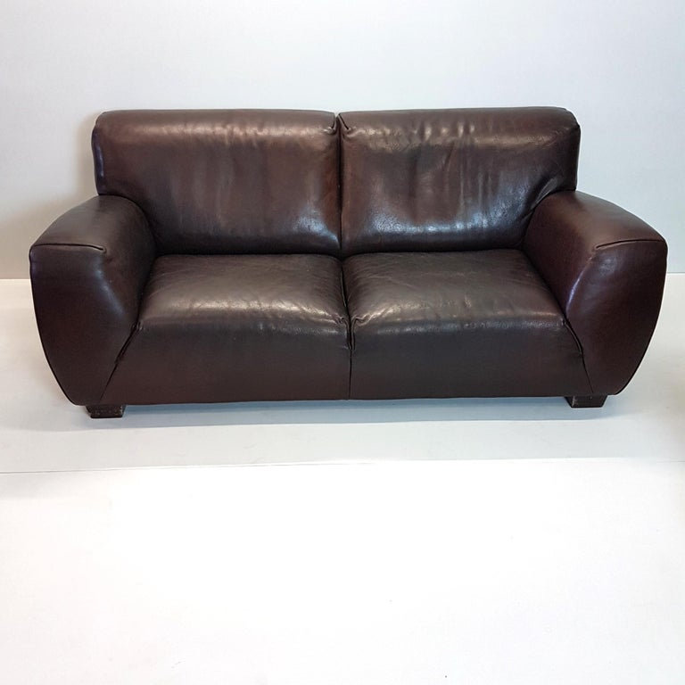 Good Quality Leather Sofa: Brown Thick High Quality Leather Two-Seat Sofa 'Fat Boy