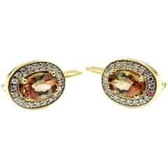 Brown Topaz and Diamond Earrings 14 Karat Yellow Gold