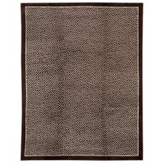 Brown Transitional Tibetan Handmade Wool Rug