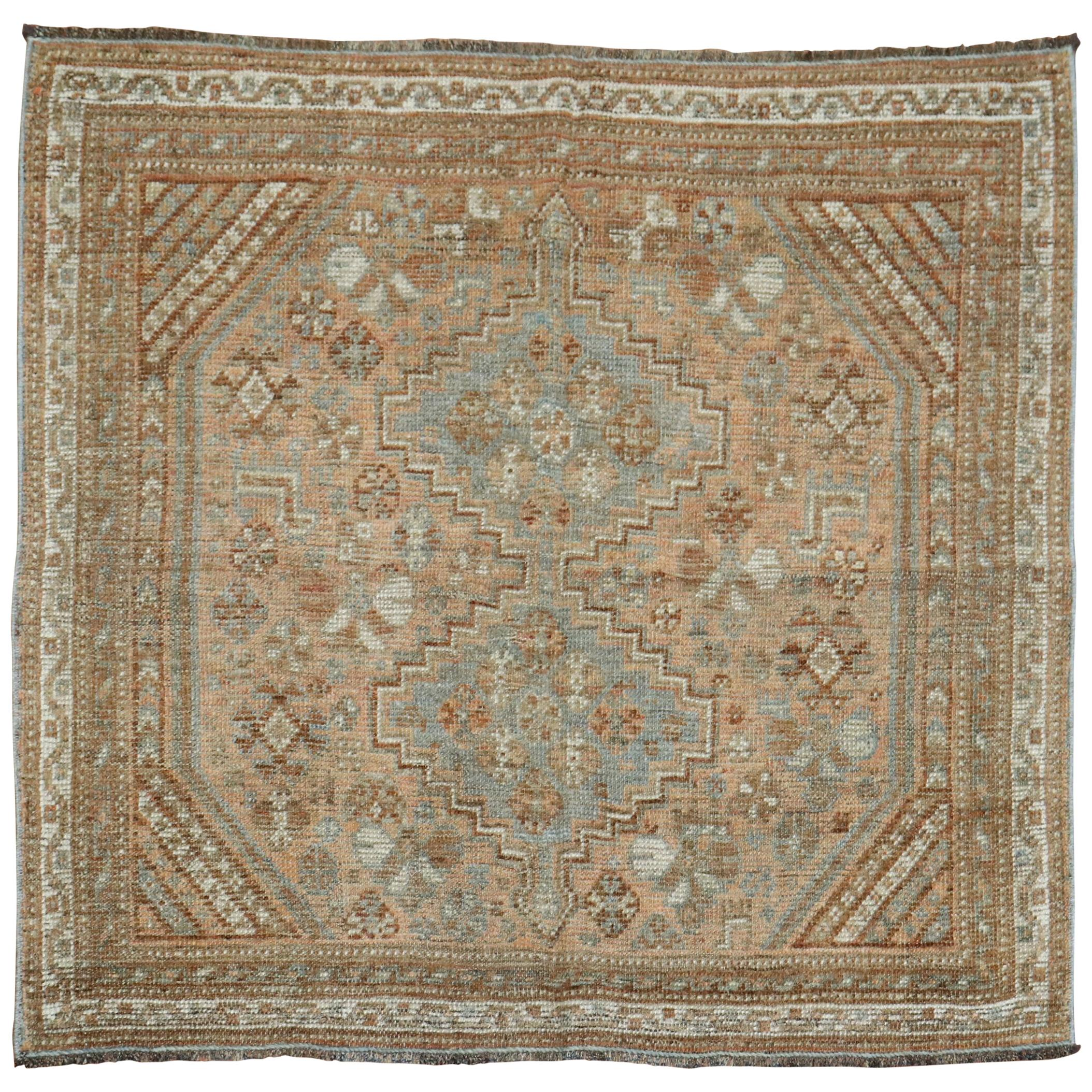 Brown Tribal Persian Earth Tone Square Scatter Rug, 20th Century
