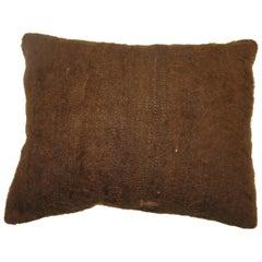 Brown Turkish Mohair Lumbar Rug Pillow