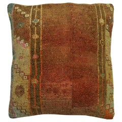 Brown Turkish Square Size Rug Pillow