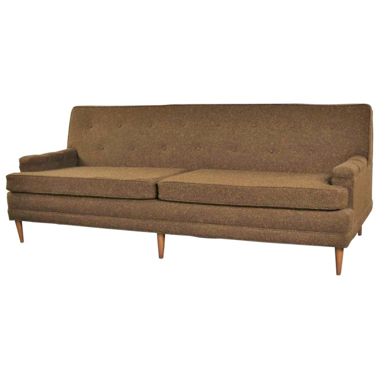 Brown Tweed Mcm Tuxedo Sofa On Back Manner Of Baughman Or Wormley