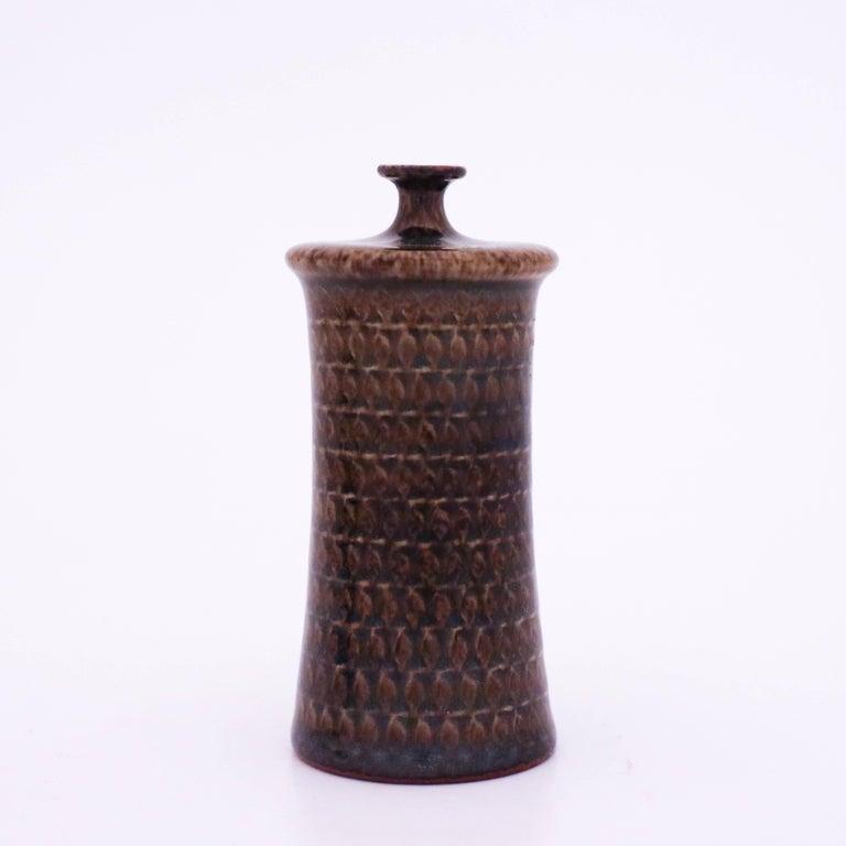 Scandinavian Modern Brown Vase in Stoneware, Stig Lindberg, Gustavsbergs Studio For Sale
