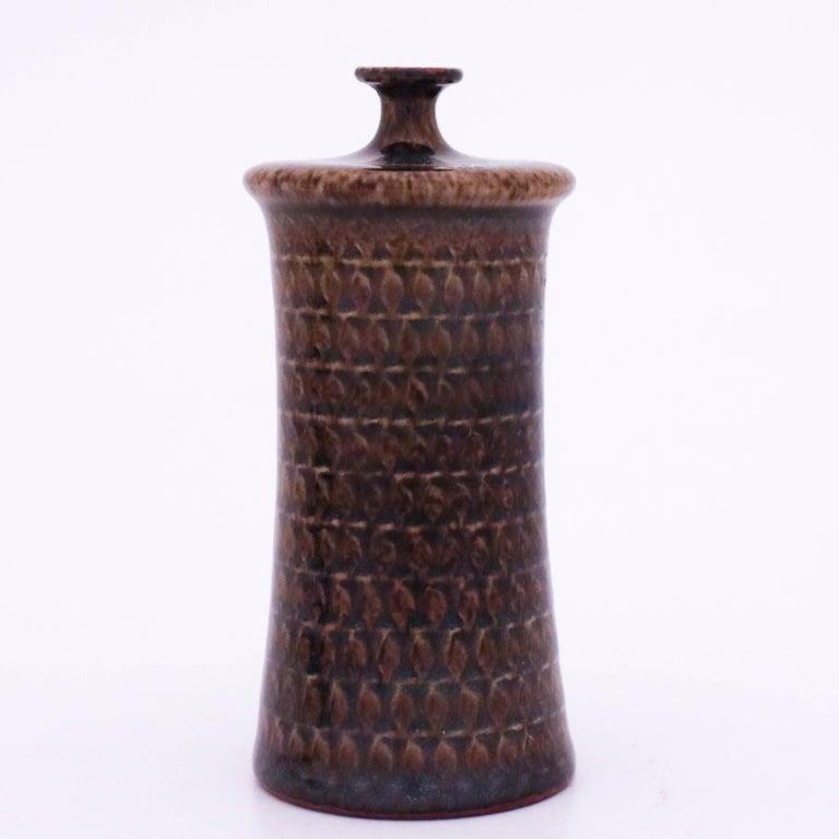 Swedish Brown Vase in Stoneware, Stig Lindberg, Gustavsbergs Studio For Sale