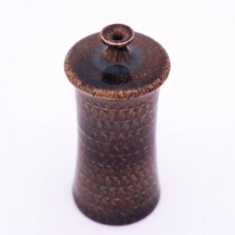 19th Century Brown Vase in Stoneware, Stig Lindberg, Gustavsbergs Studio For Sale