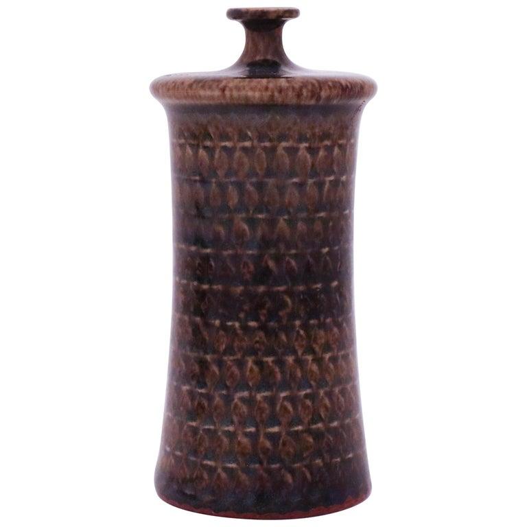 Brown Vase in Stoneware, Stig Lindberg, Gustavsbergs Studio For Sale