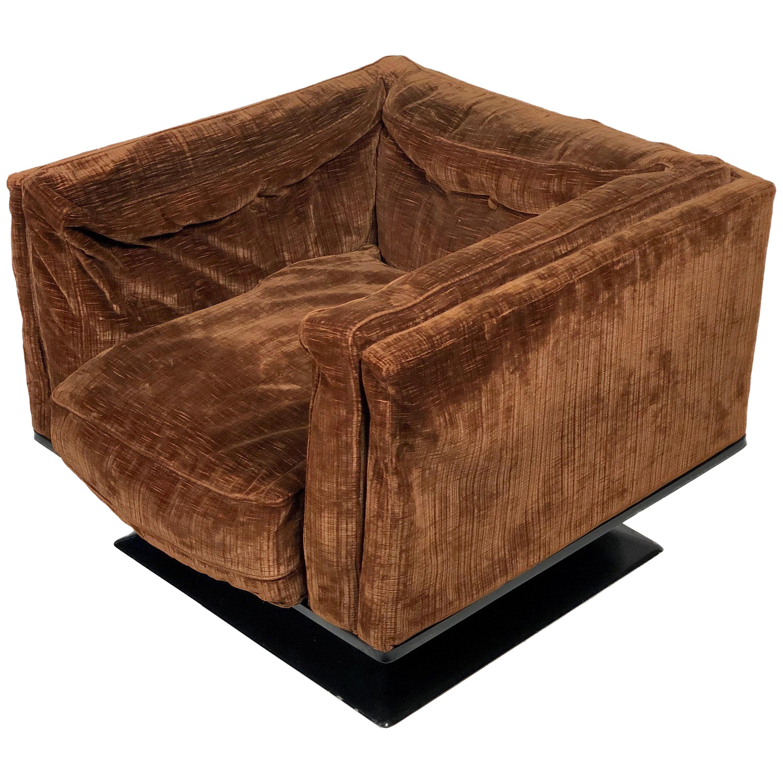 Brown Velvet Fiberglass Armchair by Luigi Pellegrin for MIM Roma, 1950s, Italy