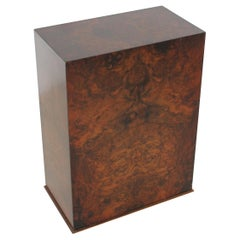 Brown Veneered Walnut Side Table or Pedestal, Italy, 1980