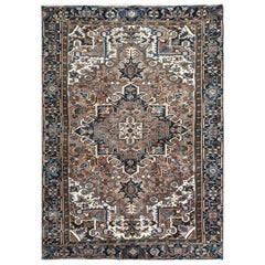Brown Vintage and Worn Persian Heriz Hand Knotted Oriental Rug