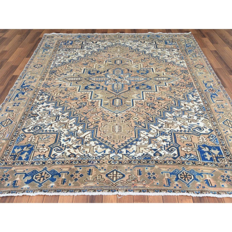 Medieval Brown Vintage and Worn Persian Heriz Organic Wool Oriental Rug
