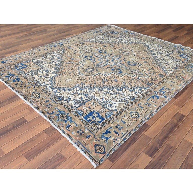 Asian Brown Vintage and Worn Persian Heriz Organic Wool Oriental Rug
