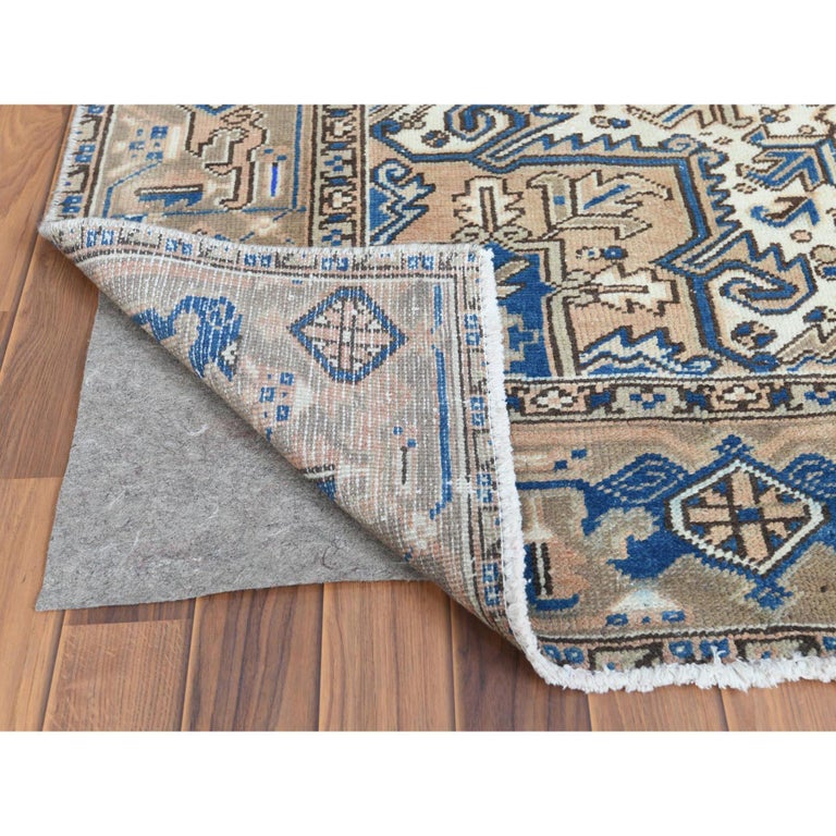 Hand-Knotted Brown Vintage and Worn Persian Heriz Organic Wool Oriental Rug