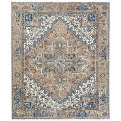 Brown Vintage and Worn Persian Heriz Organic Wool Oriental Rug