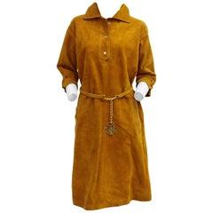 Brown Vintage Belted Suede Leather Dress Ve-Bo 1970s