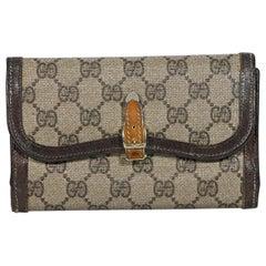 Brown Vintage Gucci Canvas GG Diamante Logo Wallet
