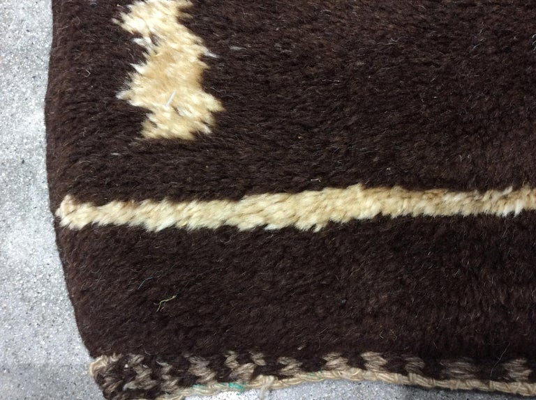Hand-Knotted Brown Vintage Moroccan Rug For Sale