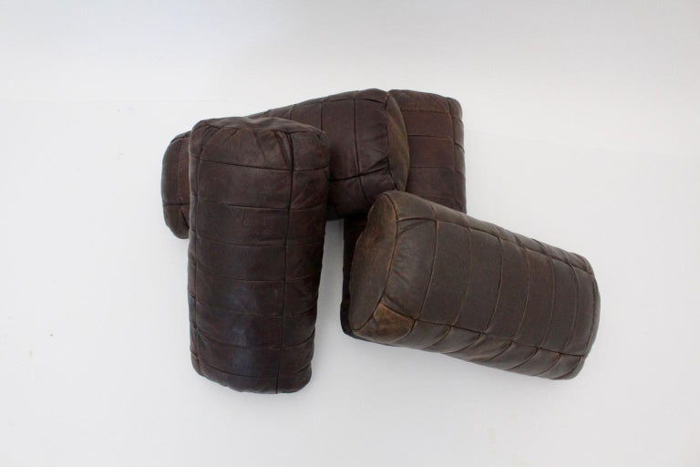 Brown Vintage Patchwork Leather De Sede Pillows 1970s Switzerland Set of Four For Sale 7