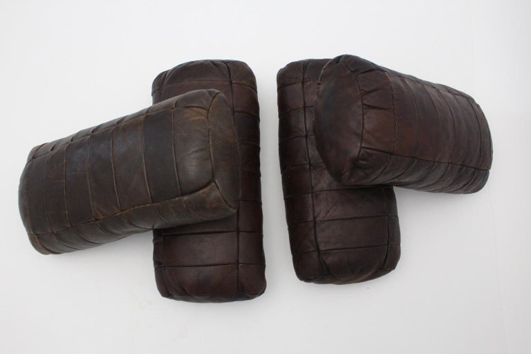Swiss Brown Vintage Patchwork Leather De Sede Pillows 1970s Switzerland Set of Four For Sale