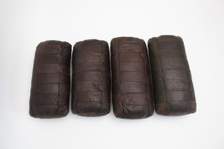 Brown Vintage Patchwork Leather De Sede Pillows 1970s Switzerland Set of Four In Good Condition For Sale In Vienna, AT