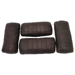 Brown Vintage Patchwork Leather De Sede Pillows 1970s Switzerland Set of Four