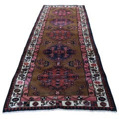Brown Vintage Persian Camel Hair Serab Pure Wool Hand Knotted Oriental Rug