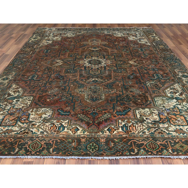 Medieval Brown Vintage Persian Heriz Clean Hand Knotted Oriental Rug For Sale