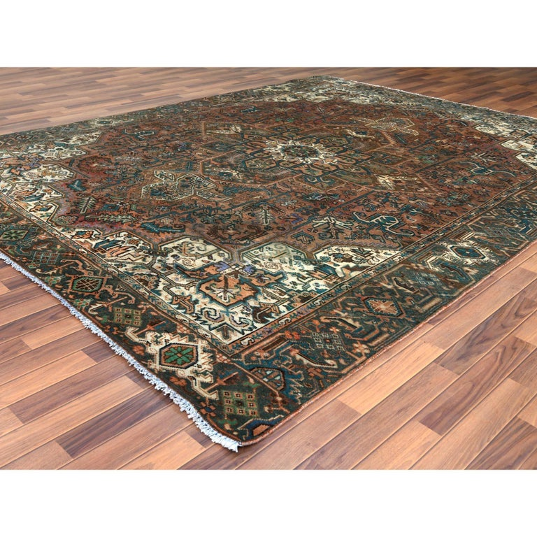 Hand-Knotted Brown Vintage Persian Heriz Clean Hand Knotted Oriental Rug For Sale