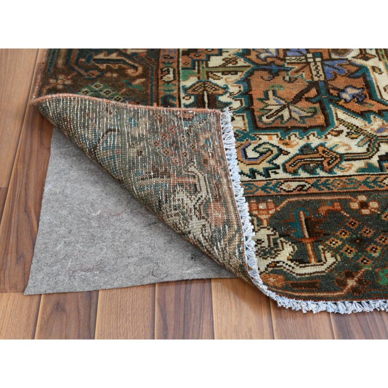Brown Vintage Persian Heriz Clean Hand Knotted Oriental Rug In Good Condition For Sale In Carlstadt, NJ
