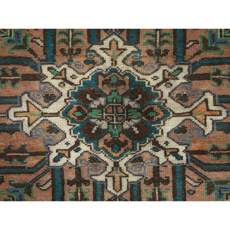 Brown Vintage Persian Heriz Clean Hand Knotted Oriental Rug For Sale 1