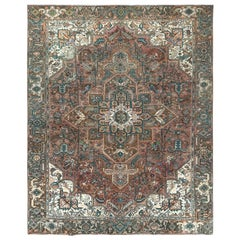 Brown Vintage Persian Heriz Clean Hand Knotted Oriental Rug