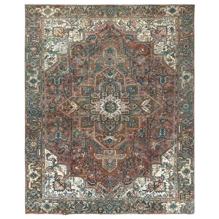 Brown Vintage Persian Heriz Clean Hand Knotted Oriental Rug For Sale