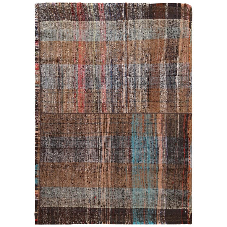 Brown Vintage Persian Kilim Rug. Size: 5 ft x 6 ft 9 in For Sale