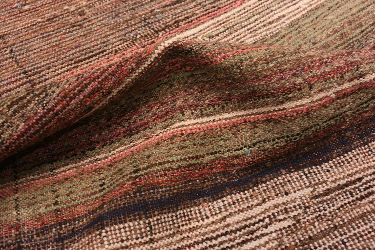 Hand-Woven Brown Vintage Persian Kilim Runner Rug. Size: 3 ft 7 in x 12 ft 5 in For Sale