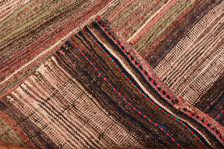 Brown Vintage Persian Kilim Runner Rug. Size: 3 ft 7 in x 12 ft 5 in In Good Condition For Sale In New York, NY