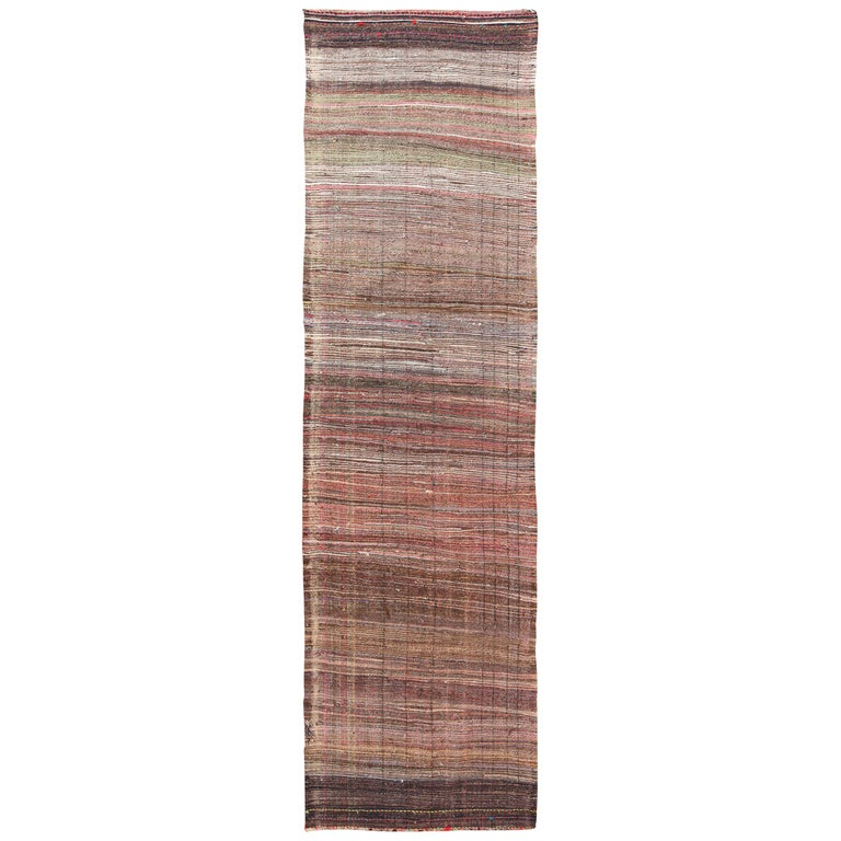 Brown Vintage Persian Kilim Runner Rug. Size: 3 ft 7 in x 12 ft 5 in For Sale