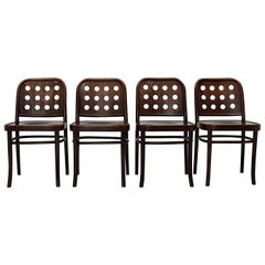 Brown Vintage Set of Four Dining Chairs Beech Style Josef Hoffmann, 1990s
