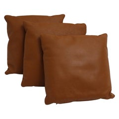 Brown Vintage Stitched Set of Three Leather Pillows, 1970s, Switzerland