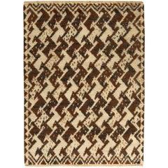 Brown Vintage Swedish Pile Weave Rug by Ann-Mari Forsberg, Kråkan