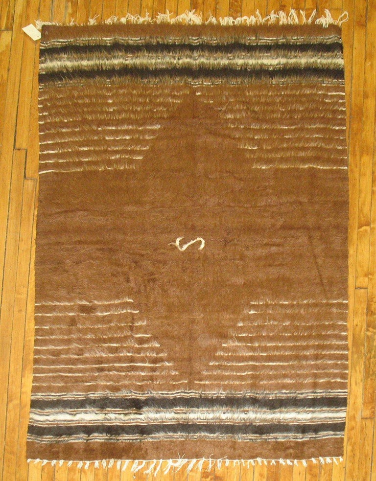 Hand-Woven Brown Vintage Turkish Mohair Blanket Rug For Sale