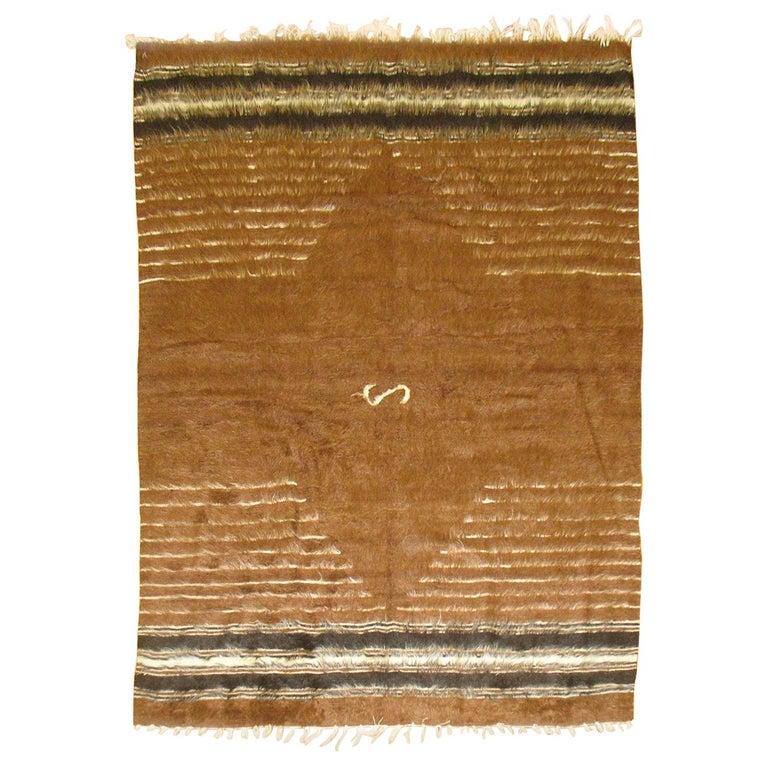 Brown Vintage Turkish Mohair Blanket Rug For Sale