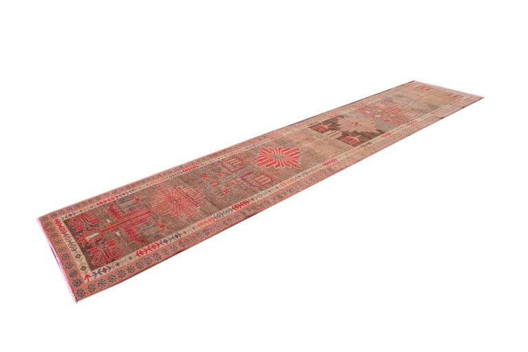 Brown Vintage Turkish Wool Runner For Sale 5