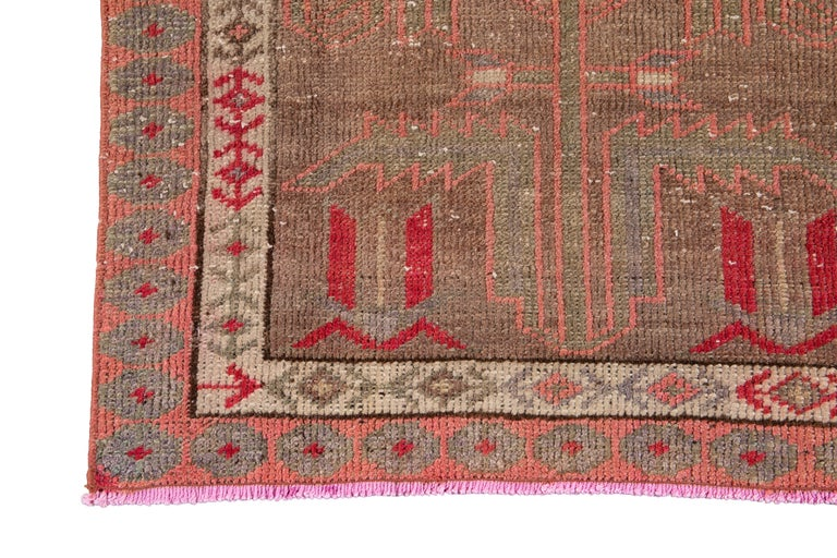 Brown Vintage Turkish Wool Runner For Sale 6