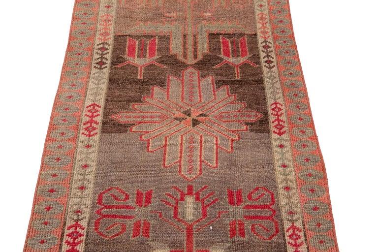 Brown Vintage Turkish Wool Runner For Sale 7