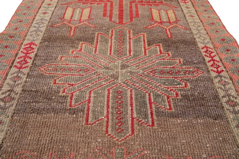 Brown Vintage Turkish Wool Runner For Sale 8