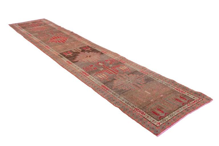Brown Vintage Turkish Wool Runner For Sale 9