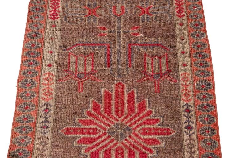 Brown Vintage Turkish Wool Runner For Sale 10