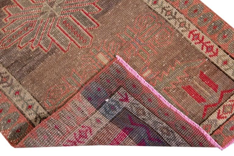 Brown Vintage Turkish Wool Runner For Sale 11
